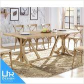 美式鄉村風安格斯7.3尺白橡全實木餐桌(18I20/A434-03)