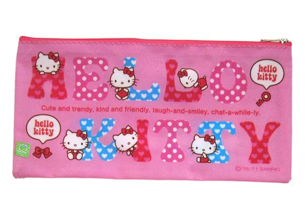 【卡漫城】 Hello Kitty 收納袋 字母粉 ㊣版 口罩 拉鍊式 防水 萬用袋 小物 收納包 支票存摺 筆袋