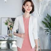 白色流線領口線條顯瘦西裝外套[20S118-PF]小三衣藏