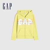 Gap女童 碳素軟磨系列 Logo法式圈織棉質連帽外套 810931-黃色