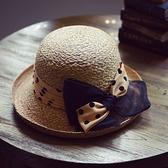 草帽-手工編織捲邊帽可愛俏麗夏季時尚女遮陽帽73si67[巴黎精品]
