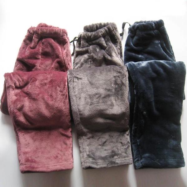 冬季法蘭絨男女士睡褲加厚保暖珊瑚絨寬鬆大碼情侶家居長褲可外穿 韓國時尚週
