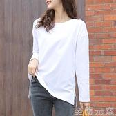 白色打底衫女內搭長袖寬松t恤女純棉女裝年春季新款衛衣疊穿 至簡元素
