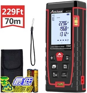 [9美國直購] 雷射測距儀含水平儀 Laser Distance Measure Tool 229Ft M/In/Ft Digital Laser Meter with 2 Bubble Levels