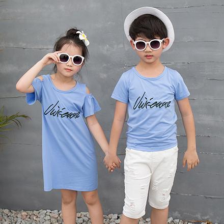 GU韓版鯊魚刺繡短袖上衣親子裝(藍色/小孩)