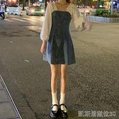 秋季假兩件方領牛仔裙新款秋季裙子氣質A字裙顯瘦收腰洋裝女裝 【快速出貨】