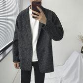 復古短款寬鬆外套男秋冬韓版學生西裝加棉落肩ulzzang大衣男風衣
