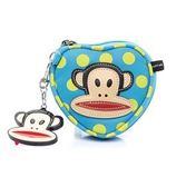 Backbager 背包族【Paul Frank大嘴猴】白玉點點猴頭小物系列愛心形狀錢包/手提包/零錢包_藍色