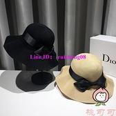百搭漁夫帽夏季日系蝴蝶結帽子遮陽帽防曬大帽檐太陽帽【桃可可服飾】