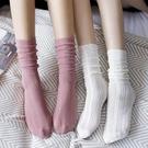 蕾絲襪子 蕾絲襪子女中筒襪白色春秋日系純色堆堆襪夏季薄款鏤空長襪ins潮-Ballet朵朵