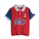 Gap男幼時尚撞色徽標短袖POLO衫538953-正紅色