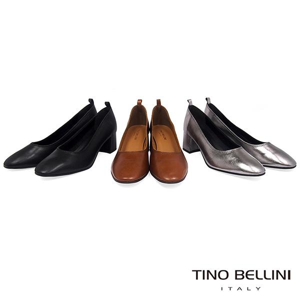 Tino Bellini義大利進口雅緻牛皮中粗跟鞋_棕 TF8504 歐洲進口款
