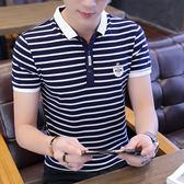 商務休閒男裝短袖t恤翻領純棉條紋polo衫體恤中青年大碼衣服 黛尼時尚精品