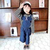 兒童吊帶褲男女童寶寶韓版可愛耳朵百搭闊腿牛仔褲潮 格蘭小舖