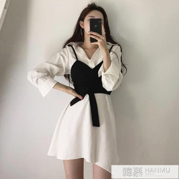 韓國chic復古修身收腰裹胸吊帶背心 翻領純色顯瘦不規則洋裝女 夏季新品