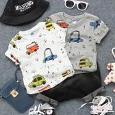2019夏新款兒童滿印汽車短袖T恤男童女童寶寶半袖圓領套頭打底衫