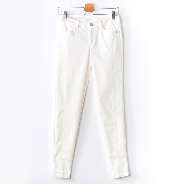 【MASTINA】貼身壓線窄管褲-白 秋冬嚴選