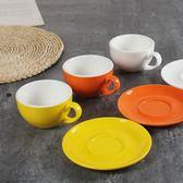 咖啡杯色釉  簡約250ml陶瓷杯 碟帶勺套裝具歐式茶杯辦公拉花加厚 年終尾牙交換禮物