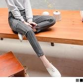 《BA6079》輕暖磨毛率性大口袋條紋直筒哈倫褲 OrangeBear