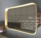 北歐時尚方形壁掛鏡餐廳客廳裝飾鏡黃銅色衛生間浴室玄關鏡 M431 星河光年DF