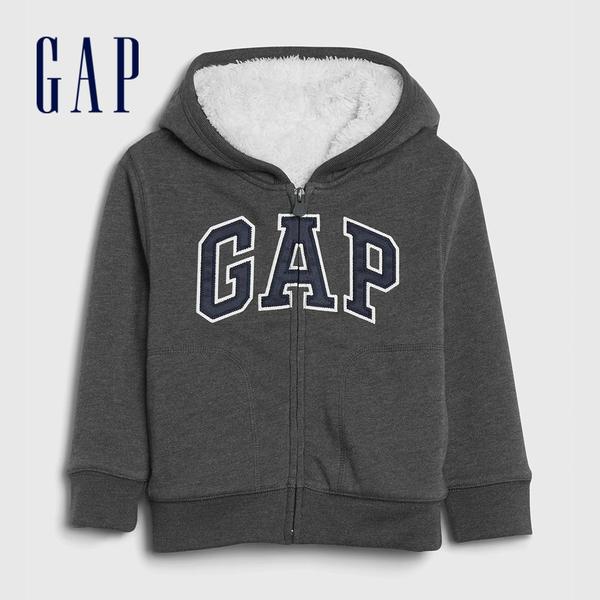 Gap男幼童 Logo仿羊羔絨拉鍊連帽衫 592924-深石楠灰