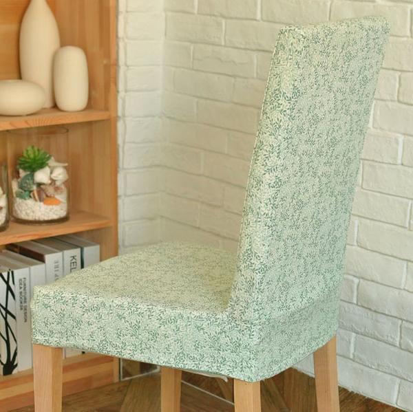 [超豐國際]美式鄉村灰綠色復古布藝連體椅套 餐椅套 軟包椅套1入