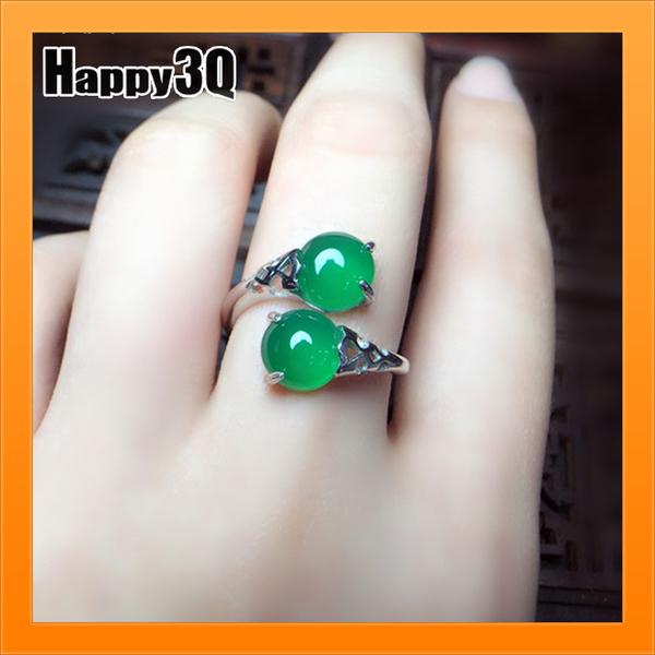 綠玉髓戒指開口戒指S925純銀雙球戒指綠瑪瑙戒指天然玉石飾品【AAA4244】預購