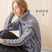 東京著衣【KODZ】麻花直條紋高領寬版毛衣-S.M(4035904)