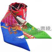 【Hermes 愛馬仕】童趣人偶繽紛造型Twilly絲巾/領結(紅X藍色)