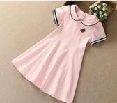 女童洋裝夏季短袖2020新款童裝兒童學院風裙子中大童女孩公主裙 滿天星