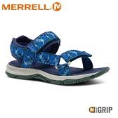 【MERRELL 美國 童 KAHUNA WEB 健行涼鞋《印花/深藍》】MLK264948/休閒涼鞋/兒童涼鞋