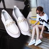 DE shop~【UH-1150】鬆糕厚底單鞋百搭韓版內增高小白鞋懶人樂福鞋