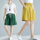 棉麻五分褲女夏胖MM100公斤加肥加大碼寬鬆顯瘦鬆緊腰亞麻闊腿短褲