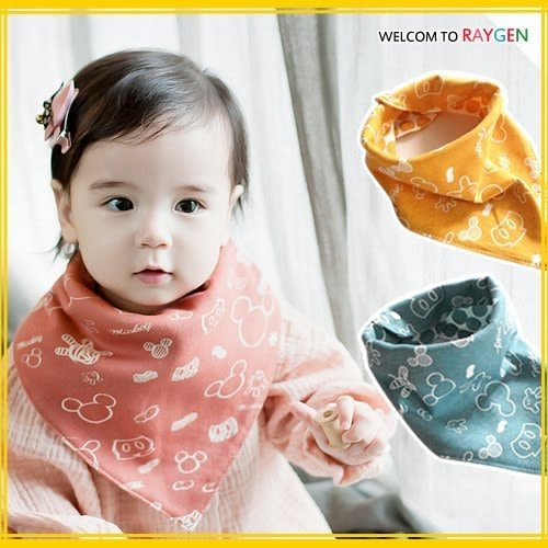 寶寶卡通塗鴉純棉防水雙面口水巾 三角巾