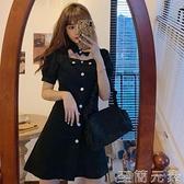 大碼可鹽可甜洋裝短款小個子泡泡袖胖mm鏤空小黑裙顯瘦氣質lisa