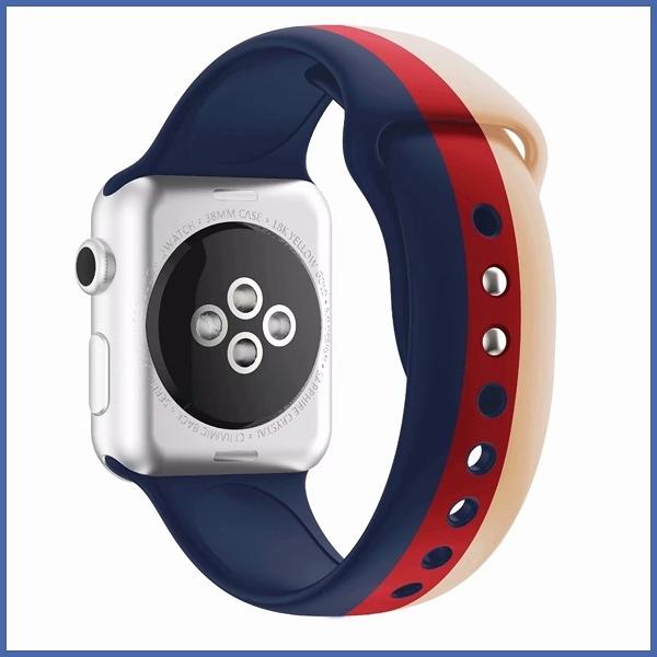 蘋果 三色錶帶 Apple Watch 123代 矽膠 防水 蘋果 錶帶