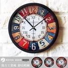 時鐘 loft工業風 復古鐵皮畫造型靜音掛鐘 羅馬配數字壁鐘 牆面設計現代裝飾時鐘-米鹿家居
