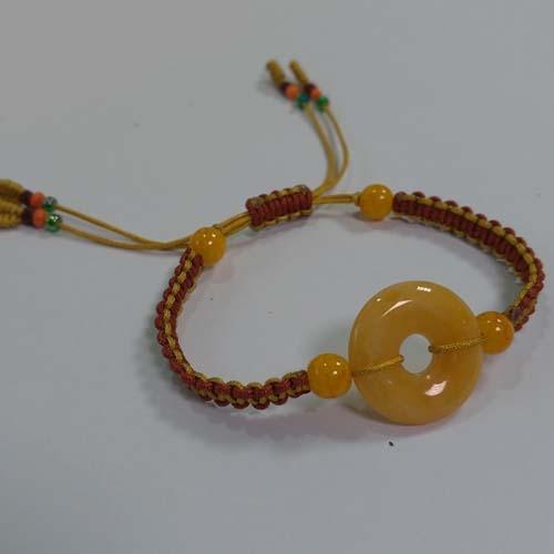 黃玉平安扣中國結手鍊