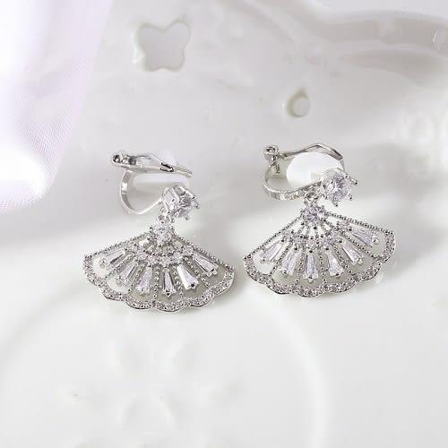【NiNi Me】夾式耳環 奢華閃耀水鑽鋯石扇形夾式耳環 夾式耳環 E0110