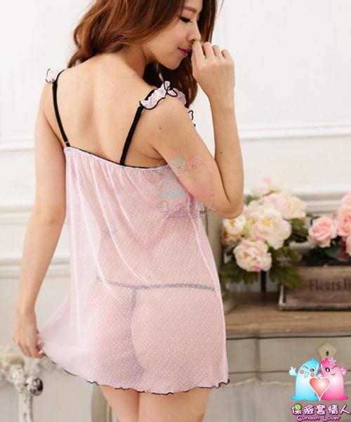 【愛愛雲端】性感內衣 性感睡衣 情趣 爆乳 透視 三點式 吊襪帶  粉紅點點芭比短睡衣(贈丁字褲)