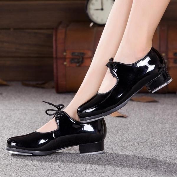 男女款兒童踢踏舞鞋耳朵女式成人黑色漆皮系帶踢踏舞蹈鞋跳舞鞋子 叮噹百貨