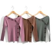 秋冬7折[H2O]不對稱斜V領裝飾釦針織線衫 - 綠/紫/咖色 #0650004