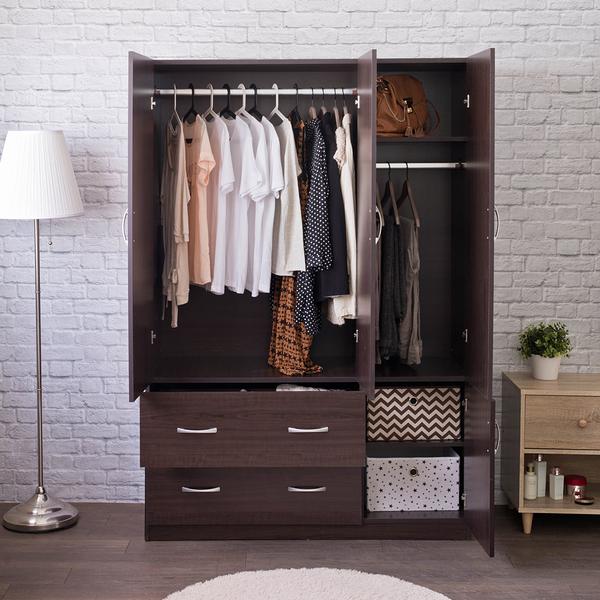 衣櫃 衣櫥 收納【收納屋】雅緻四門二抽衣櫥-雙色可選& DIY組合傢俱