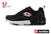 LOTTO樂得 義大利 女款 FLUX 避震氣墊跑鞋 網布運動鞋 慢跑鞋 M8607#黑色◆OSOME奧森鞋業