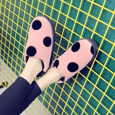 短筒雪靴-時尚可愛圓點保暖女厚底靴子4色73kg89[巴黎精品]
