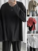 @港仔文藝男 秋季新款純色長袖T恤男士韓版寬鬆百搭打底衫衛衣潮