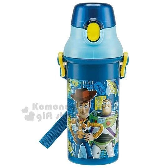 〔小禮堂〕迪士尼 玩具總動員 日製直飲式水壺《深藍.角色》480ml.水瓶.兒童水壺 4973307-43859