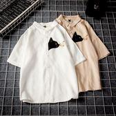 夏季貓蝴蝶短袖襯衫男加肥加大碼棉麻休閒寬鬆襯衣青年復古潮胖子