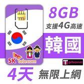 【TPHONE上網專家】韓國 高速上網卡 4天無限上網 (前面8GB 支援4G高速)
