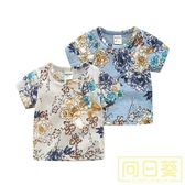 兒童短袖T恤夏款男童花朵滿印上衣寶寶竹節純棉透氣t恤套頭打底衫